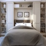 wardrobe and bed storage white